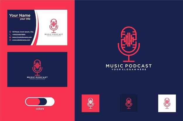 Diseño de logotipo de música de podcast y tarjeta de visita