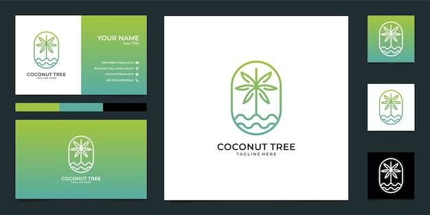 Diseño de logotipo de naturaleza de árbol de coco y tarjeta de visita