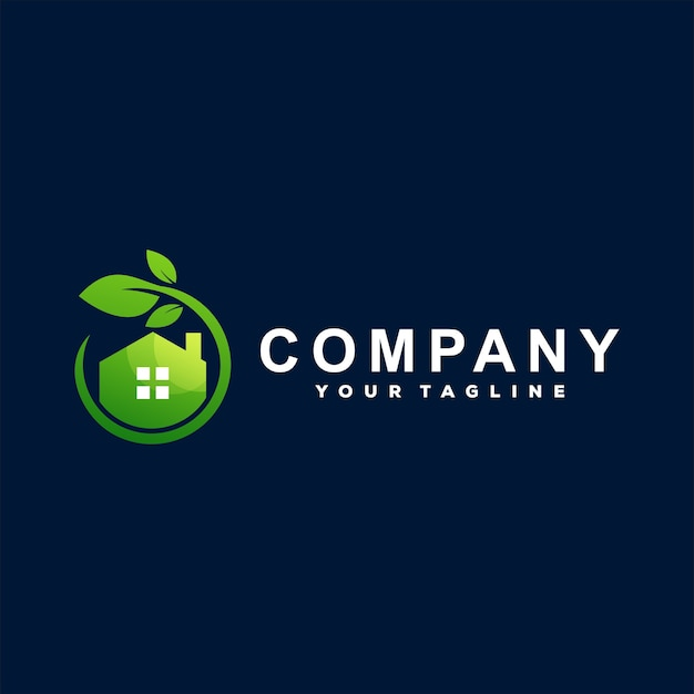 Diseño de logotipo de naturaleza de casa verde