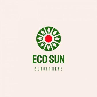 Diseño de logotipo de naturaleza eco sol