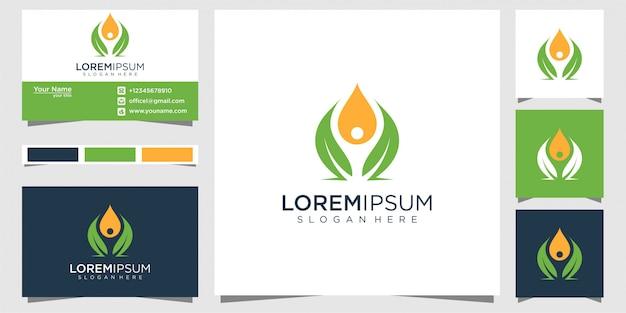 Diseño de logotipo de naturaleza, símbolo de yoga y tarjeta de visita