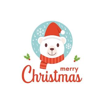 Diseño de logotipo de navidad de cara de oso feliz