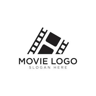 Diseño de logotipo negro de película premium