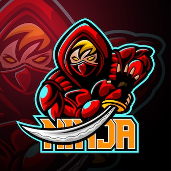 Diseño de logotipo de ninja mascota esport