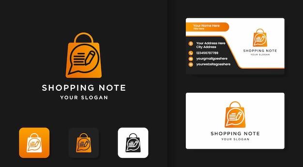 Diseño de logotipo de notas de compras y diseño de tarjeta de visita