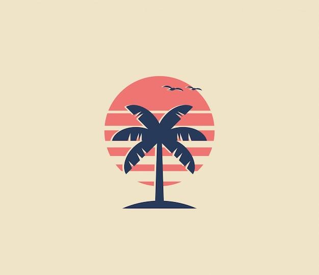 Diseño de logotipo o icono de palmera de estilo vintage con silueta de palma y sol rojo sobre fondo. ilustración minimalista