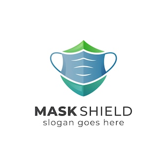 Diseño de logotipo o símbolo de concepto de máscara y escudo Vector Premium