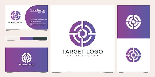 Diseño de logotipo de objetivo de fotografía y tarjeta de visita