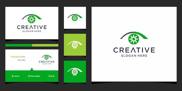 Diseño de logotipo de ojo con plantilla de tarjeta de visita