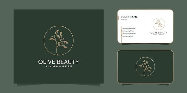 Diseño de logotipo de oliva con estilo de línea creativa vector premium