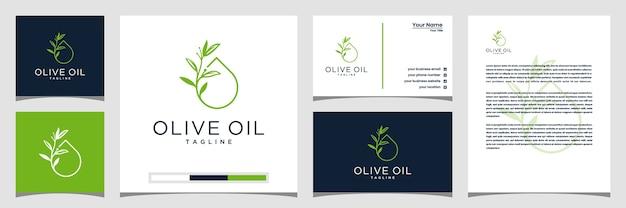 Diseño de logotipo de olivo y aceite, tarjetas de presentación y membretes