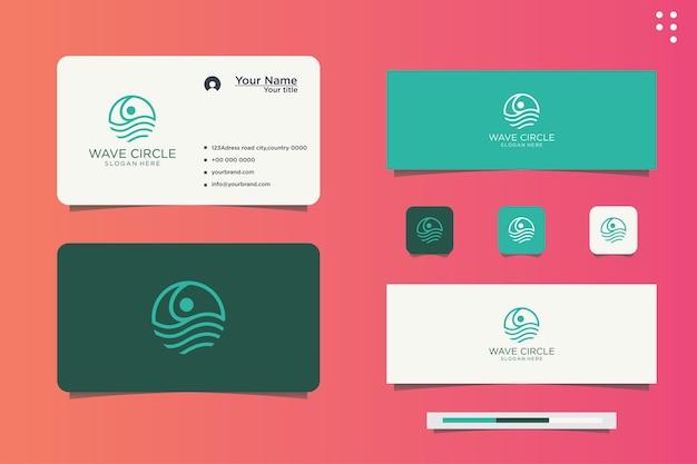 Diseño de logotipo de onda de círculo de empresa de línea de agua y tarjeta de visita