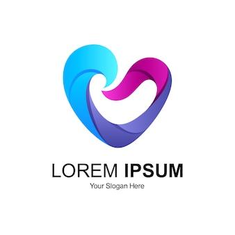 Diseño de logotipo de la onda del corazón