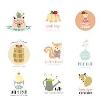 Diseño de logotipo con oso, zorro, pastel, ardilla, niña y flor.