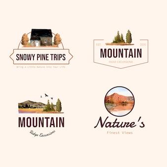 Diseño de logotipo con paisaje en otoño