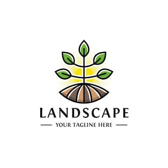 Diseño de logotipo de paisaje planta crecer
