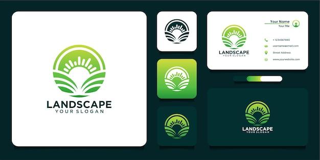 Diseño de logotipo de paisaje y tarjeta de visita.
