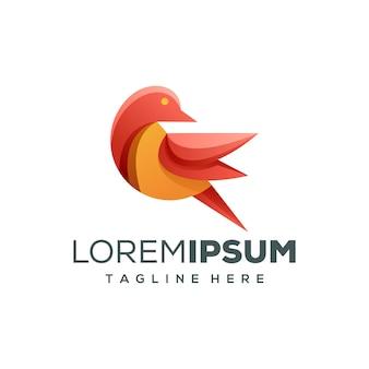 Diseño de logotipo de pájaro colorido