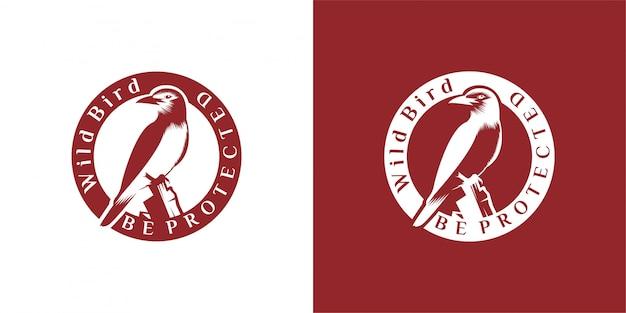Diseño de logotipo de pájaro emblema, vintage, sello, insignia, plantilla de vector de logotipo