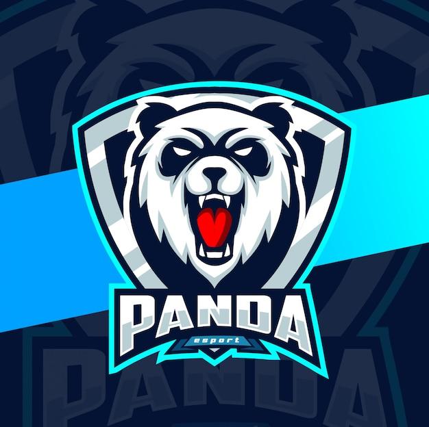 Diseño de logotipo de panda mascota esport
