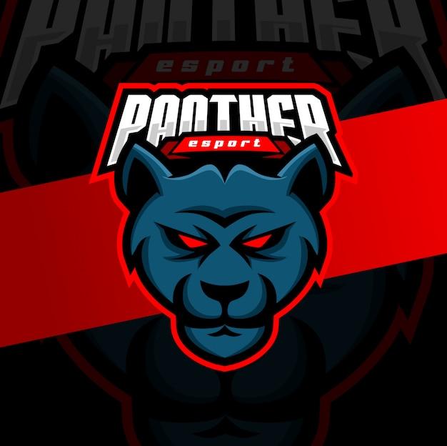 Diseño de logotipo de pantera puma head mascota esport