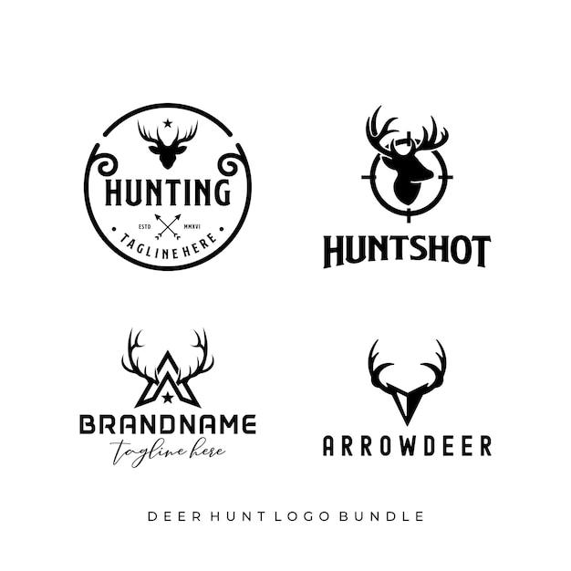 Diseño de logotipo de paquete de caza de ciervos