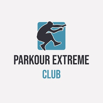 Diseño de logotipo parkour extreme club con silueta hombre saltando simple