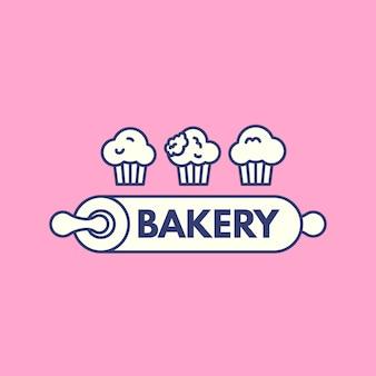 Diseño de logotipo de pastel de panadería con cupcake
