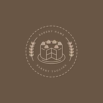 Diseño de logotipo de pastel de panadería con pastel