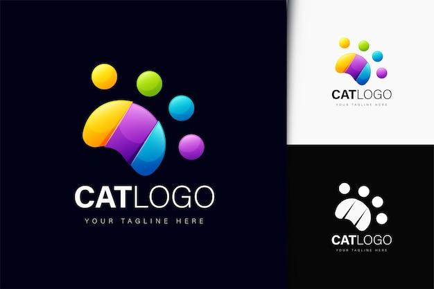 Diseño de logotipo de pata de gato con degradado