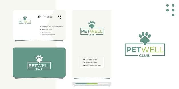 Diseño de logotipo de pata de perro a rayas y tarjeta de visita.