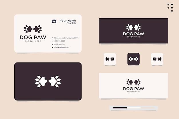 Diseño de logotipo de pata de perro. vector de logo de icono de perro