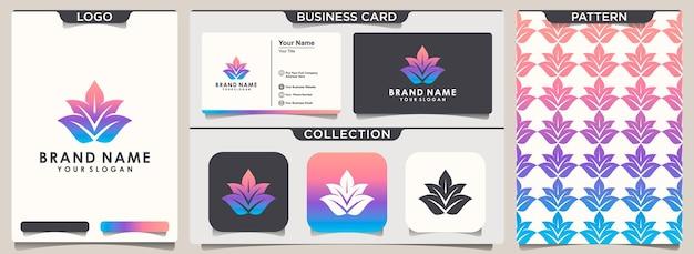 Diseño de logotipo y patrón de lotus y diseño de tarjeta de presentación