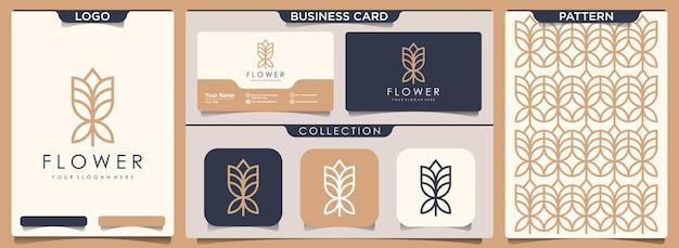 Diseño de logotipo, patrón y tarjeta de presentación de flor rosa