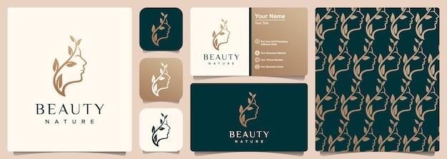 Diseño de logotipo, patrón y tarjeta de visita de concepto de naturaleza de rostro de mujer hermosa creativa.