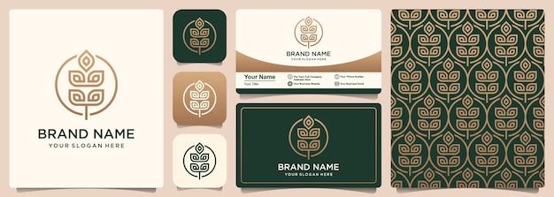 Diseño de logotipo, patrón y tarjeta de visita de icono de vector de grano o trigo abstracto