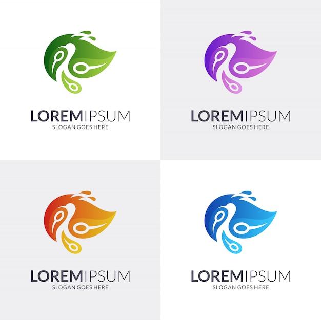 Diseño de logotipo de pavo real + hoja