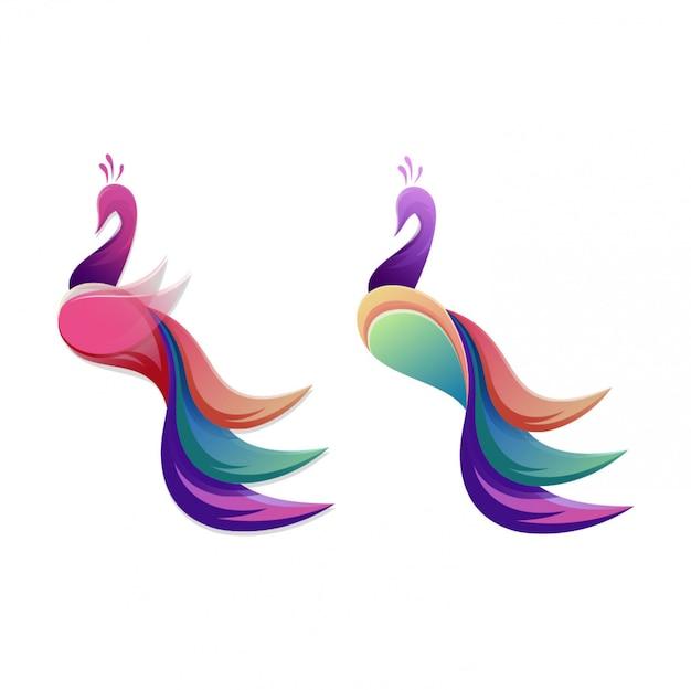 Diseño de logotipo de pavo real impresionante