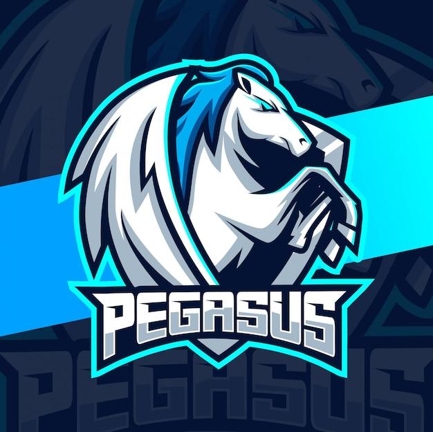 Diseño de logotipo de pegasus mascot esport