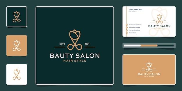 Diseño de logotipo de peluquería de belleza con tarjeta de visita.