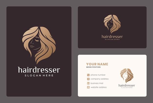 Diseño de logotipo de peluquería, mujer de belleza, salón o spa con plantilla de crad de negocios.