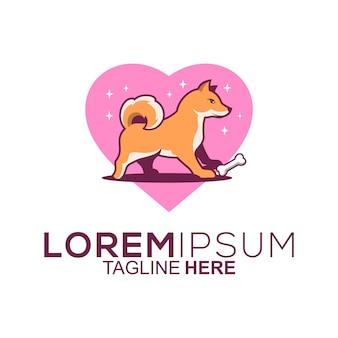 Diseño de logotipo de perro de amor