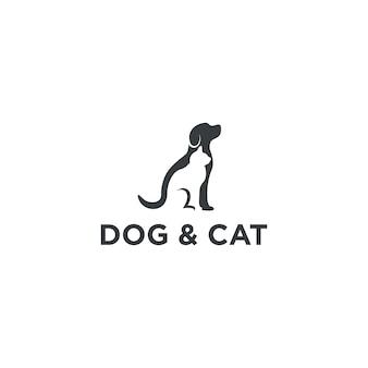Diseño de logotipo de perro y gato