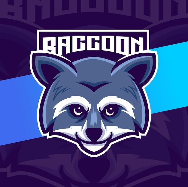 Diseño de logotipo de personaje de cabeza de mapache