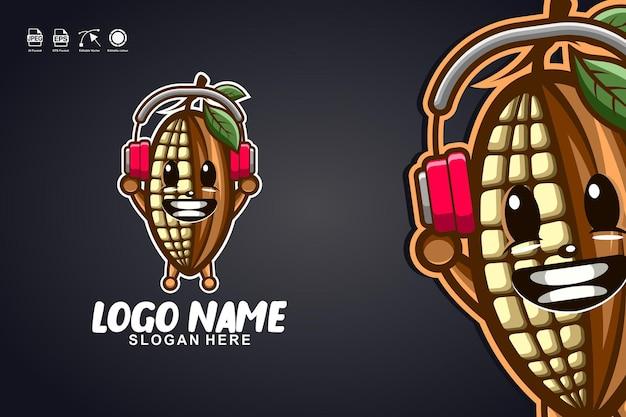 Diseño de logotipo de personaje de mascota linda de música de cacao