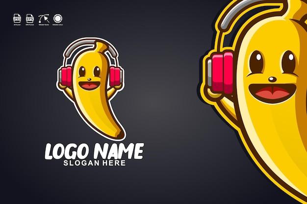 Diseño de logotipo de personaje de mascota linda de música de plátano