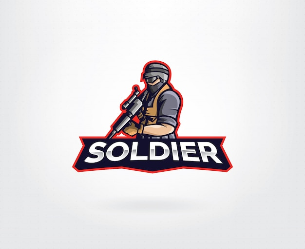 Diseño de logotipo de personaje de mascota soldado