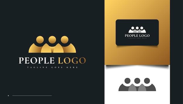 Diseño de logotipo de personas de oro. personas, comunidad, familia, red, centro creativo, grupo, logotipo de conexión social o icono de identidad empresarial