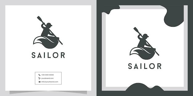Diseño de logotipo de personas de remo en bote pequeño