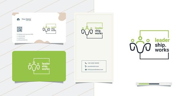 Diseño de logotipo de personas simples y tarjeta de visita.